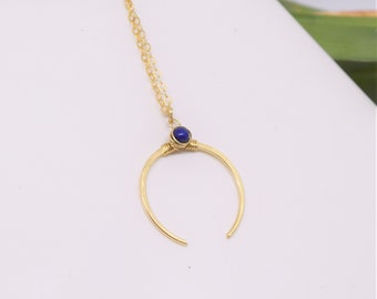 Crescent Moon Necklace Horn Gold Plated Necklace Blue Horn Necklace Blue Lapis Horn Necklace Horn Jewelry Horn Necklace