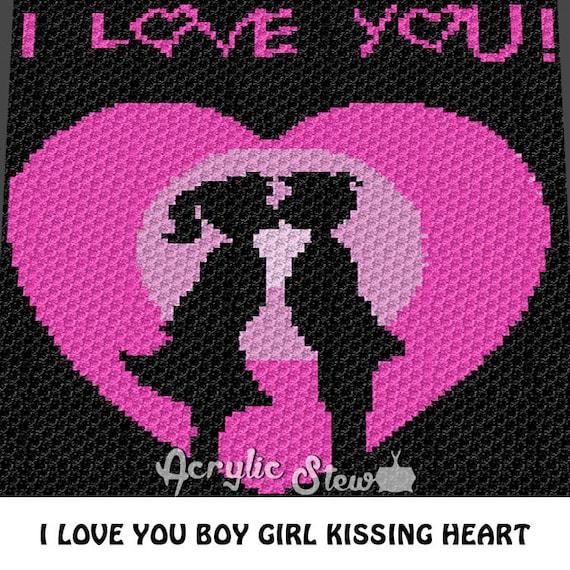 I Love You Boy Girl Kissing C2C crochet blanket pattern