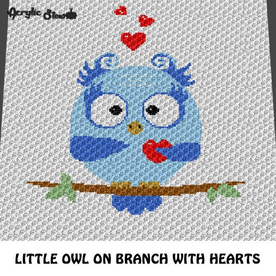 Baby Graphgan Pattern Corner To Corner C2c Crochet Blue Baby Owl On Branch With Hearts Blanket Afghan Crochet Graphgan Pattern Chart