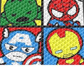 Graphgan Pattern - Corner to Corner - C2C - Single Crochet - Kawaii Mini Comic Superheroes Blanket Afghan Crochet Graphgan Pattern Chart