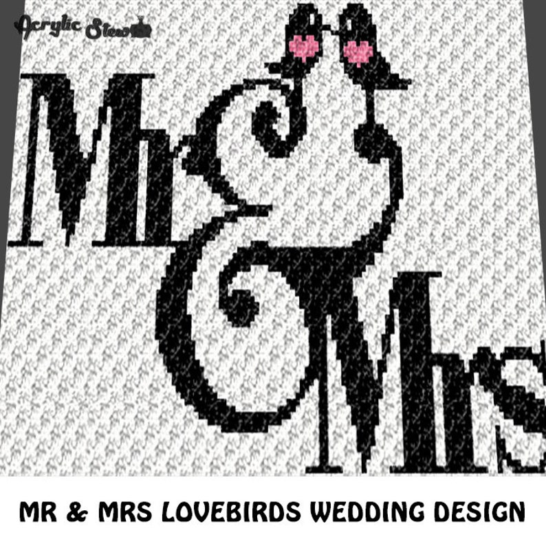 Corner to Corner Graphgan Pattern C2C Mr and Mrs Love Birds Wedding Blanket Afghan Crochet Graphgan Graph Chart; pdf; instant download