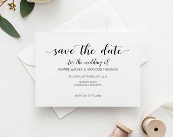 Save the Date Template, Save the Date Printable, Rustic Kraft Wedding Printable, Wedding Invitation Template, PDF Instant Download #E014