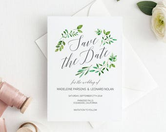 Save the Date Template, Save the Date Printable, Rustic Wedding Printable, Wedding Invitation Template, PDF Instant Download #E018