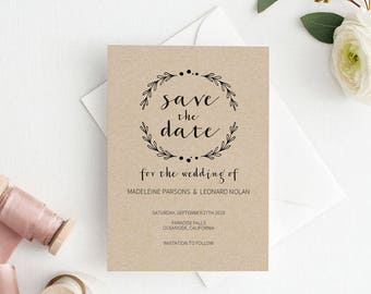 Save the Date Template, Save the Date Printable, Rustic Kraft Wedding Printable, Wedding Invitation Template, PDF Instant Download #E020