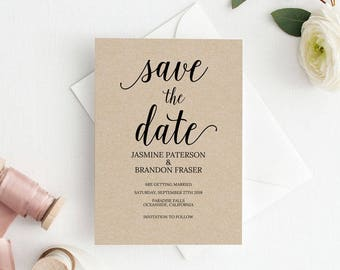Save the Date Template, Save the Date Printable, Rustic Kraft Wedding Printable, Wedding Invitation Template, PDF Instant Download #E006