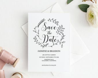 Save the Date Template, Save the Date Printable, Rustic Kraft Wedding Printable, Wedding Invitation Template, PDF Instant Download #E026