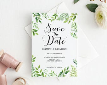 Save the Date Template, Save the Date Printable, Greenery Wedding Printable, Wedding Invitation Template, PDF Instant Download #E032