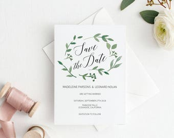 Modern Greenery Save the Date Template, Save the Date Printable, Wedding Printable, Wedding Invitation Template, PDF Instant Download #E023