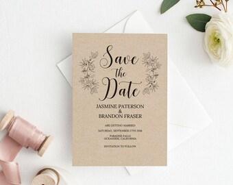 UK Australia Wedding, Save the Date Template, Save the Date Printable, Rustic Kraft Wedding Printable, Wedding Invitation Template #A4_017