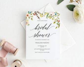 bridal shower invitation template romantic bridal shower wedding printable wedding shower template shower invite instant download e035