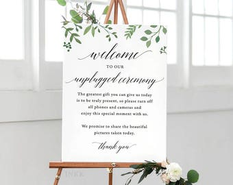 Modern Greenery Unplugged Wedding Sign, Unplugged Ceremony Sign Printable, Unplugged Sign, Unplugged Wedding Download, PDF #E023