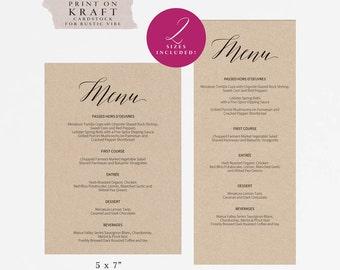 rustic printable wedding menu template kraft menu cards menu etsy