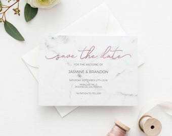Marble Rose Gold Save the Date Template, Save the Date Printable, Wedding Printable,Wedding Invitation Template,PDF Instant Download #E039