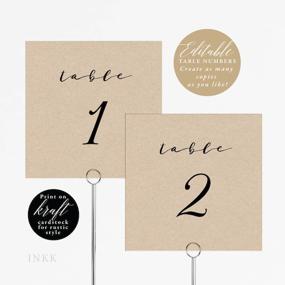 Rustic Wedding Table Numbers Printable Table Number Template | Etsy