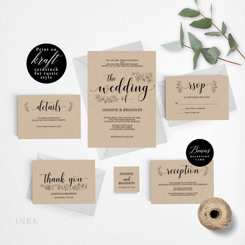 UK Australia Wedding Romantic Rustic Invitation Template Printable Set Cheap A4 017