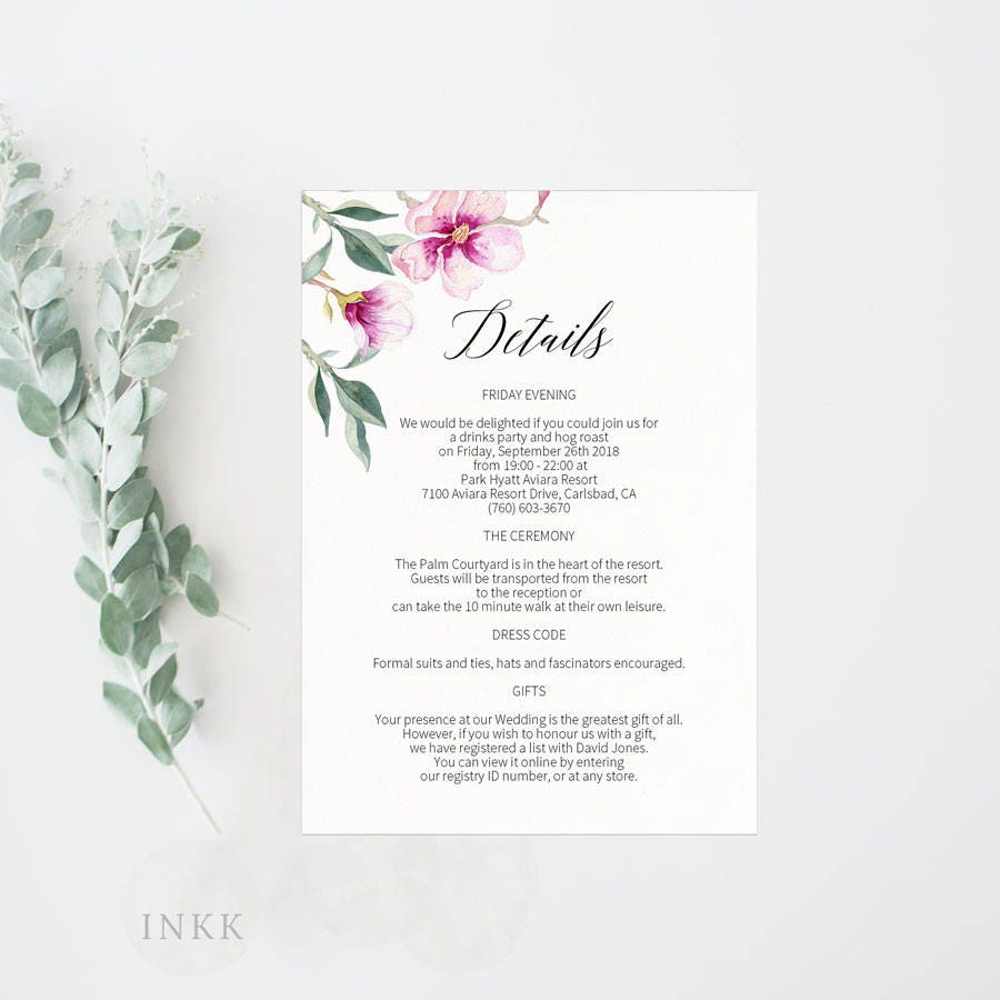 Wedding Details Card Enclosure Card Directions Card Gift Etsy