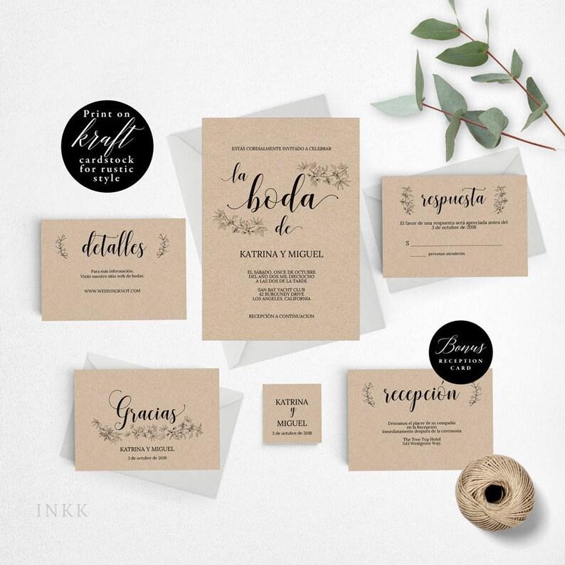 Spanish Rustic Wedding Invitation Template Printable Set Cheap DIY PDF Instant Download E029
