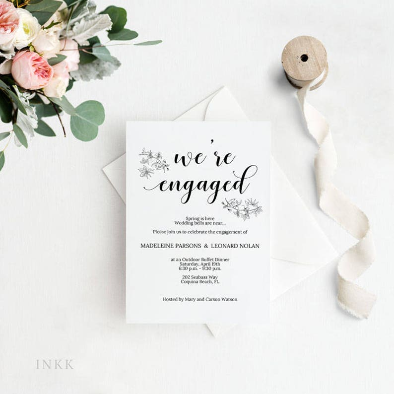 Romantic Rustic Engagement Party Invitation InvitationEngagement DinnerWedding Template PDF Instant Download E017