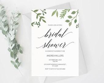Bridal Shower Invitation Template Greenery Bridal Shower