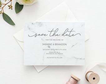 Save the Date Template, Save the Date Printable, Modern Marble Wedding Printable,Wedding Invitation Template,PDF Instant Download #E038