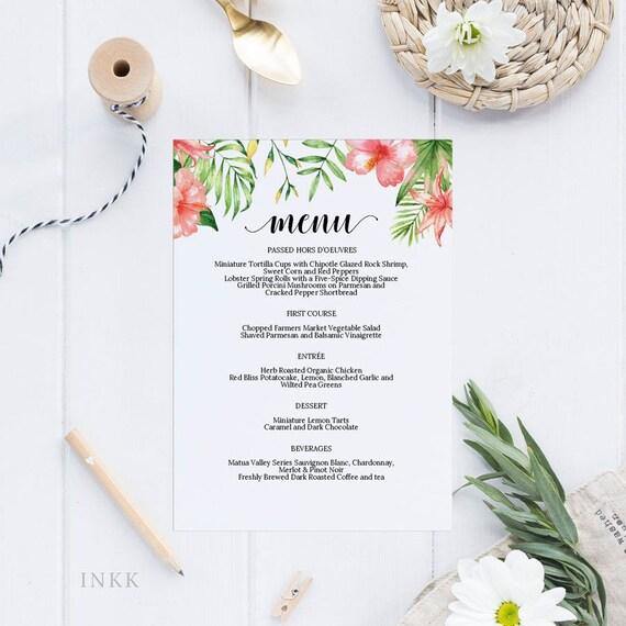Tropical Printable Wedding Menu Template Menu Cards Menu Template Editable Menu Rustic Wedding Editable Pdf Instant Download E030