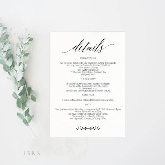 wedding details card enclosure card directions card gift