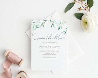 Save the Date Template, Save the Date Printable, Greenery Wedding Printable, Wedding Invitation Template, PDF Instant Download #E041