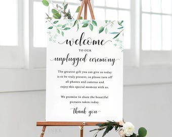 Greenery Unplugged Wedding Sign, Unplugged Ceremony Sign Printable, Unplugged Sign, Unplugged Wedding Download, PDF Instant Download #E031