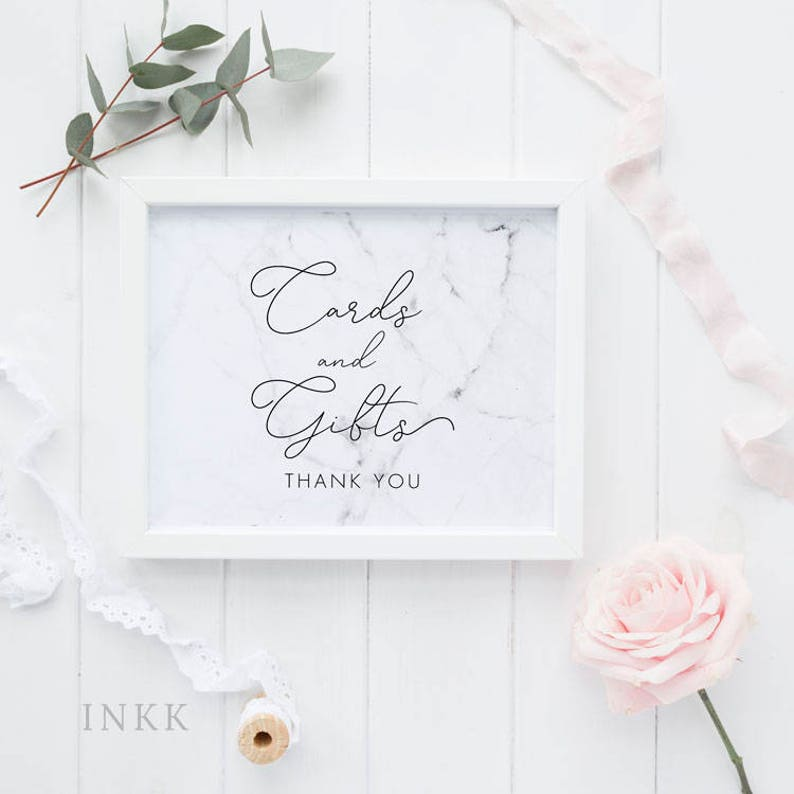 Wedding Signage Gift Table Sign PDF Instant Download #E038 DIY Cards and Gifts Printable Sign Modern Marble Cards and Gifts Sign