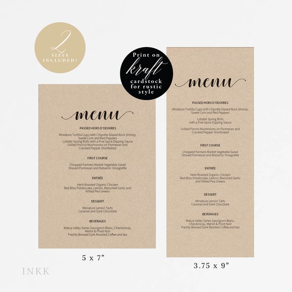 Rustic Printable Wedding Menu Template Kraft Menu Cards Menu Template Editable Menu Rustic Wedding Editable Pdf Instant Download E014