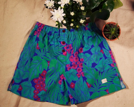 calcon man cotton fabric upcylejungle leaf green blue flower pink