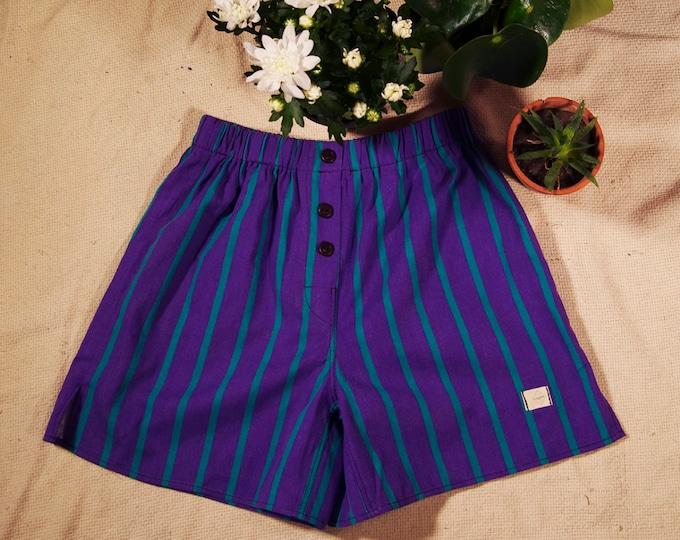 calcon man cotton fabric upcykey purple green stripes