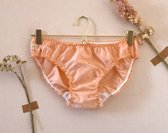 Upcycleated cotton nude panties small flowers