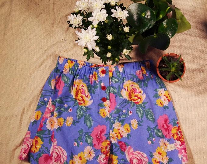 calecon homme coton tissu upcyclé fleurs bleu