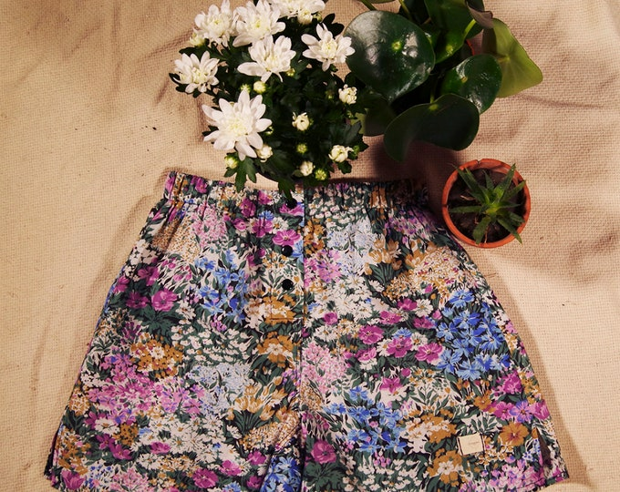 calcon man cotton fabric upcykey small meadow flowers green purple black