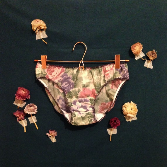 panties bloomer cotton flowers purple pink