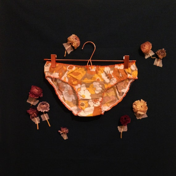 bloomer orange cotton flower panties