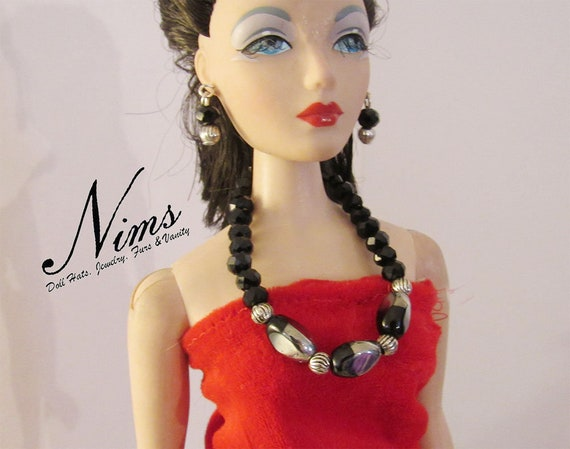 Gorgeous striped beads in this necklace and earring jewelry set for 16 inch fashion dolls Handmade by Nims Tonner Parker and more