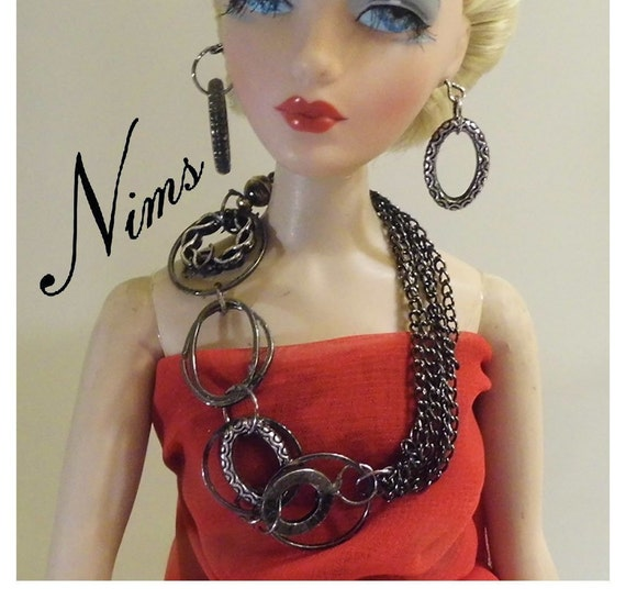 """Handmade doll jewelry necklace earrings for 16/"""" Tonner dolls"""