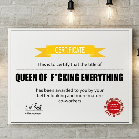 graphic about Secret Santa Cards Printable called Amusing Workplace Queen Electronic Print Reward Certification Tailored Printable Indication Wall Artwork Decor Card Mystery Santa Xmas Reward below 10