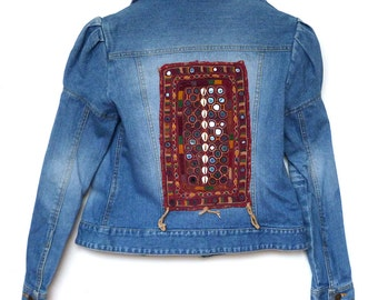 5d93f6aa Denim Jacket embroidered with Indian tribal embroidery size S