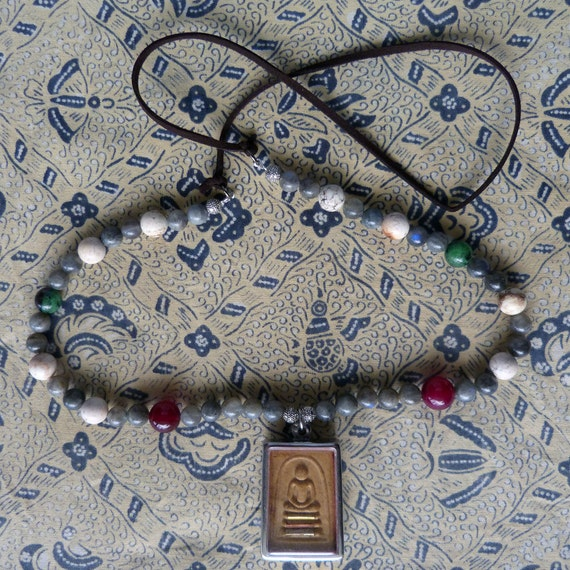 Multicoloured Clay Beads Phra Somdej Amulet Necklace
