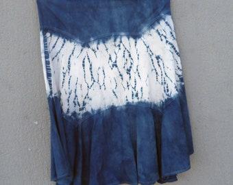 Indigo Dyed Shibori Skirt