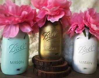 Mint, Gold, and White Mason Jars, Dorm Decor, Painted Mason Jars, Baby Shower Decor, Mint, Gold, and White, Mason Jar Centerpieces, Rustic