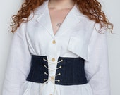 Upcycled denim underbust belt, y2k jeans corset belt, custom made corset belt, zero waste fashion