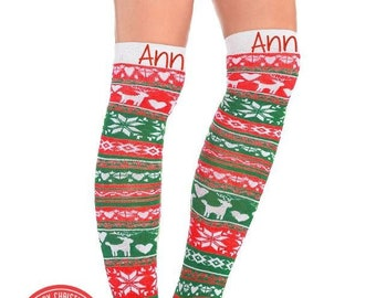 f2afa38a4 Ugly Christmas Sweater Socks Holiday Christmas Socks Personalized  Festive  Reindeer Snowflake Personalized Men s Womens s Adult Holiday Sock