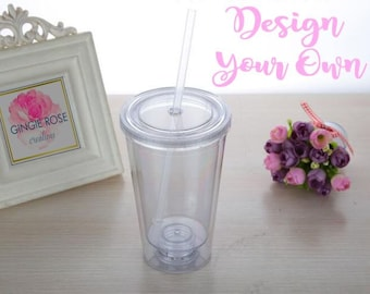 Custom Tumbler/ Personalized Tumbler/Acrylic Tumbler/Double Wall Water Bottle/Cup and Straw/Plastic Water Bottle/