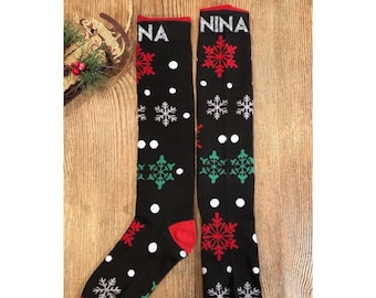 82d8c4934 Christmas Socks Holiday Festive Socks  Personalized Women s Girls  SnowflakeSocks stocking gifts holiday socks noel  christmas gift