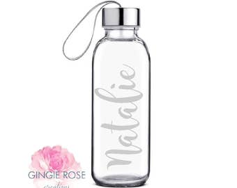 Personalized Engraved Etched Glass Water Bottle/Personalized Glass/ Workout Water Bottle/ Etched Bottle/Glass Bottle/Name on Bottle/ Engrave