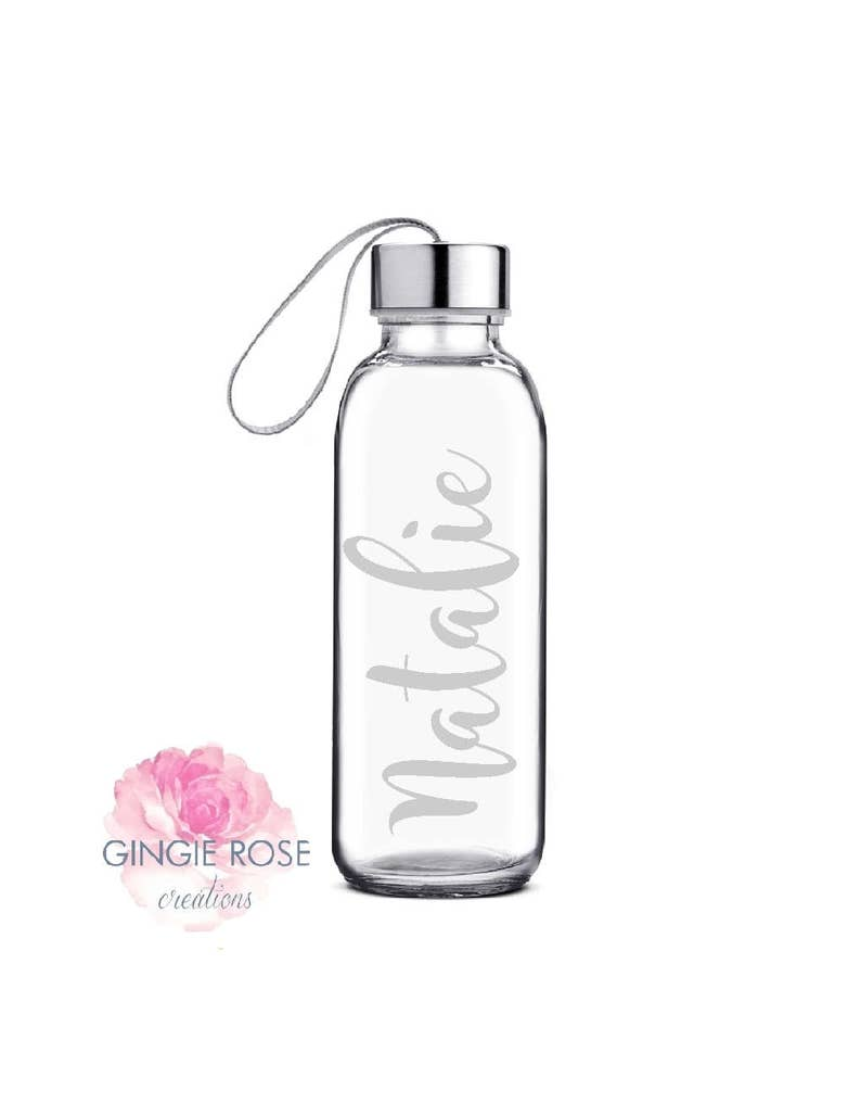 Personalized Engraved Etched Glass Water Bottle/Personalized image 0